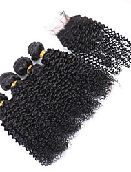 Vinsteen 8A Brazilian Kinky Curly Wave 100% Human Hair Weave Hair with 4X4 inch Extensions Unprocessed Hair Wefts Natural Color Can Be Dyed 4pcs lot