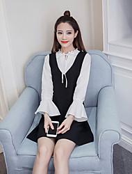 Знак 2017 весна новые корейские женщины поддельные два коротких пункта был тонкий с длинными рукавами платье
