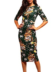 New Fashion Formal Work Party Vintage Bodycon Sheath DressFloral Split Round Neck Midi  Length Sleeve