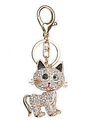 Key Chain Cat Key Chain White Pink Gold Metal