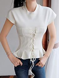 Damen Solide Einfach Street Schick Anspruchsvoll Ausgehen Lässig/Alltäglich Arbeit T-shirt,Rundhalsausschnitt Frühling Sommer Kurzarm