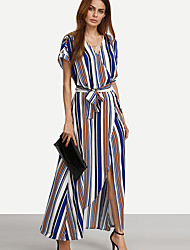 Women's Fine Stripe Casual/Daily/Party/ Vintage/Street chic Sheath DressJacquard Round Neck Above Knee Sleeve Red Rayon/PolyesterAll