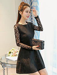 Women's Wedding Wedding Party Birthday Party Bachelor's Party Sexy A Line Dress,Solid Color Round Neck Above Knee, Mini Long Sleeve Lace