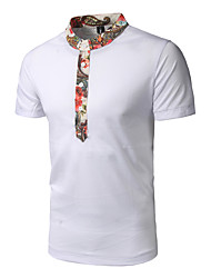 Men's Going out Casual/Daily Simple Summer T-shirt,Patchwork Stand Short Sleeve Cotton Polyester Medium