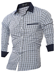 Men's Fashion Casual Plaid Slim Lapel Long-Sleeved Shirt