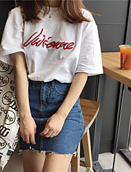 Really making Korea chic embroidery letter loose bf wind cotton short-sleeved t-shirt Harajuku Korean female students