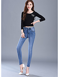 Sign 2017 spring models waist jeans female feet pencil pants Slim was thin stretch pants tide