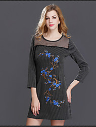 Women's Casual/Daily Chinoiserie A Line Dress,Embroidered Round Neck Above Knee Long Sleeve Others All Seasons Low Rise Inelastic Medium