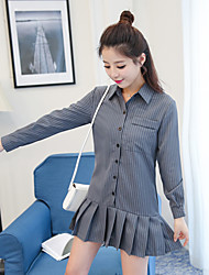 2017 new Korean version of the vertical stripes lapel long-sleeved dress pleated skirt was thin