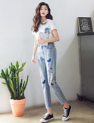 Sign butterfly embroidered jeans pants wide Song Halun