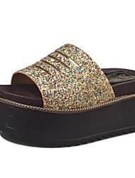 Damen-Sandalen-Lässig-PU-Flacher Absatz-Komfort-Gold Weiß Schwarz