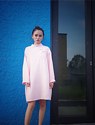 Women's Casual/Daily Simple Loose Dress,Solid Stand Above Knee Long Sleeve Rayon Summer Low Rise Inelastic Thin