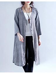Assina o v-pescoço 2017 do t-shirt longo do casaco de lã do fã da arte do verão revestimento exterior fino sobre os chás da roupa da