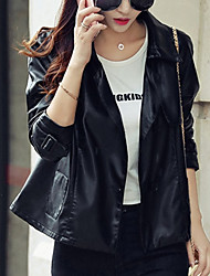 Women's Going out Casual/Daily Work Simple Street chic Spring Fall Leather Jacket,Solid Shirt Collar Long Sleeve Short PU