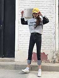 налить штатам 2 знака Кинг Юн 2017 весна модели талии прямые джинсы хорошего качества черные манжеты