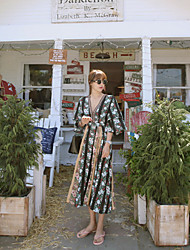 Women's Honeymoon Casual/Daily Holiday Boho A Line Dress,Bohemian Style V-neck Mid-Calf Half Sleeves N/A Summer High Rise Inelastic Medium