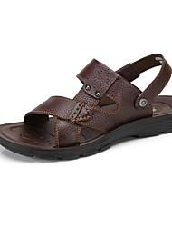 Camel Men's Casual Cow Leather Sandals Non-slip Slip On Summer Beach Wear Flip Flop Color Black/Brown