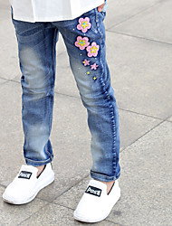 Girls' Casual/Daily Solid Print Jeans-Cotton Spandex Summer Spring