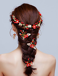 Liga Imitação de Pérola Capacete-Casamento Ocasião Especial Flores 8 Peças