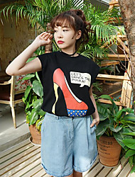 Tee t style de personnalité talons féminin à manches courtes t-shirt offset deux couleurs