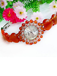 Women's Fashion Watch Japanese Quartz Jade Band Red