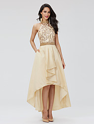 TS Couture Prom Holiday Dress - Sparkle & Shine Beautiful Back A-line Halter Asymmetrical Taffeta Sequined with Beading Pleats