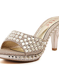 Women's Sandals Summer Club Shoes PU Dress Kitten Heel Rhinestone