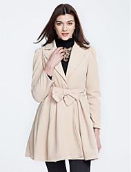 Feminino Casaco Casual Moda de Rua Outono / Inverno,Sólido Vermelho / Preto / Marrom Algodão Colarinho de Camisa-Manga Longa Média