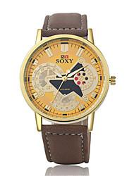 Masculino Relógio de Moda Chinês Quartzo Couro Banda Casual Marrom Dourado Preto