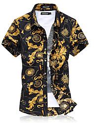 Men's Casual/Daily Street chic Shirt,Print Shirt Collar Short Sleeve Nylon