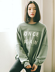 Women's Casual/Daily Sweatshirt Letter Oversized Round Neck Inelastic Rabbit Fur Long Sleeve Spring