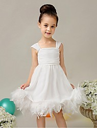 Ball Gown Knee-length Flower Girl Dress - Organza Spaghetti Straps with Feathers / Fur Pleats