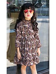 Girl's Holiday Print Dress,Polyester Spring Long Sleeve