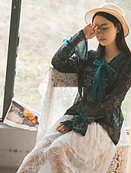 Women's Work Beach Holiday Vintage Chinoiserie All Seasons Blouse,Floral Stand Long Sleeve Others Thin