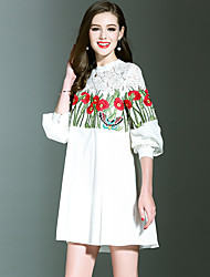 NEDO Women's Going out Party Holiday Street chic Sophisticated Loose Tunic DressFloral Embroidered Stand Above Knee Long SleeveWhite