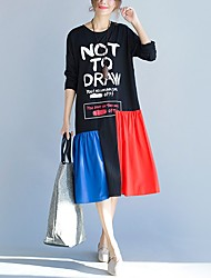 Tee-shirt Femme,Couleur Pleine Décontracté / Quotidien simple Manches Longues Col Arrondi Coton Spandex