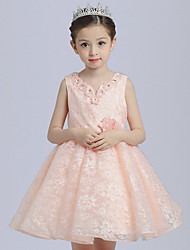 Ball Gown Short / Mini Flower Girl Dress - Cotton Lace Satin V-neck with Beading Flower(s)