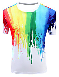 Men's Sports Formal Going out Casual/Daily Simple Active Summer T-shirt,Geometric Print Rainbow Round Neck Short Sleeve Cotton Medium