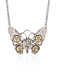 Vintage Animal Pendant Necklace Gear Charm Steampunk Necklace-Filigree Watch Butterfly