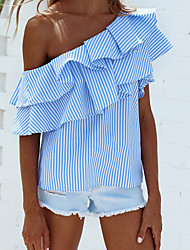 Women's Going out Casual/Daily Cute Street chic Summer Shirt,Striped Boat Neck Sleeveless Nylon