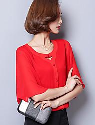 Реальный выстрел корейский шифон рубашка с короткими рукавами 2017 лето дикий сплошной цвет V-образным вырезом труба рукав шифона рубашка