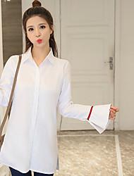 2017 весной новый Зханг Кси с пунктом рупор рукав свободной длинными рукава белой рубашкой темперамент пригородным