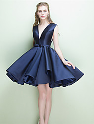 Short / Mini Jersey Open Back Bridesmaid Dress - A-line V-neck with Sash / Ribbon