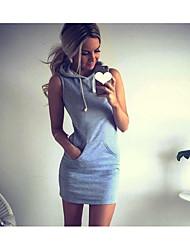 Damen T Shirt Kleid-Lässig/Alltäglich Solide Mit Kapuze Mini Ärmellos Baumwolle Frühling Sommer Mittlere Hüfthöhe Mikro-elastisch Dünn
