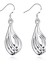 XU Women Three Lines Droplets Corrugated Shape Earrings
