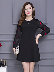 Sign spring dress long section of the Korean version of the new retro temperament Slim long-sleeved A-line dress bottoming skirt