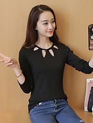 Damen Solide Einfach Lässig/Alltäglich T-shirt,U-Ausschnitt Langarm Baumwolle