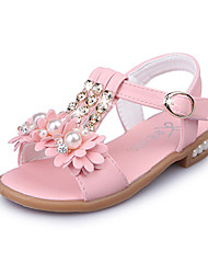 Girls' Sandals Spring Summer Flower Girl Shoes Light Soles PU Wedding Outdoor Party & Evening Dress Casual Flat HeelPearl Sparkling