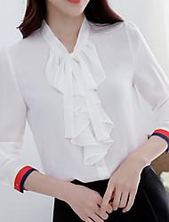 Feminino Camisa Social Casual Para Noite Simples Primavera Verão,Sólido Estampa Colorida Poliéster Colarinho Chinês Manga Longa Média