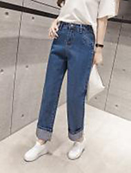 Really making 2017 spring new Korean wild waist micro horn small wave lace straight denim trousers female